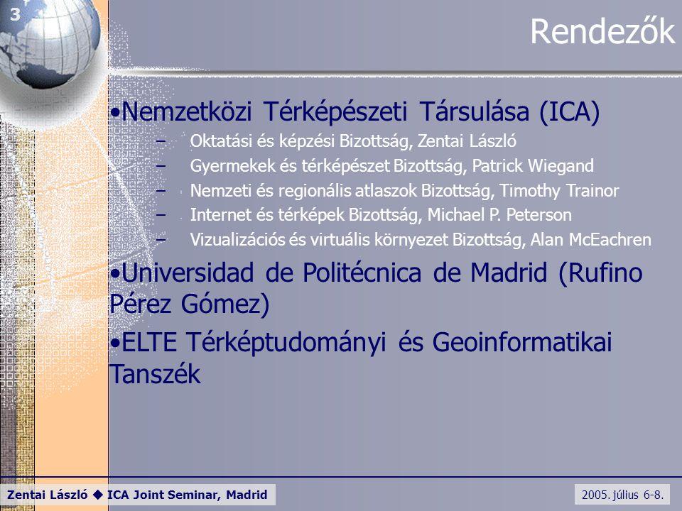 2005. július 6-8. Zentai László  ICA Joint Seminar, Madrid 3 Rendezők Nemzetközi Térképészeti Társulása (ICA) –Oktatási és képzési Bizottság, Zentai