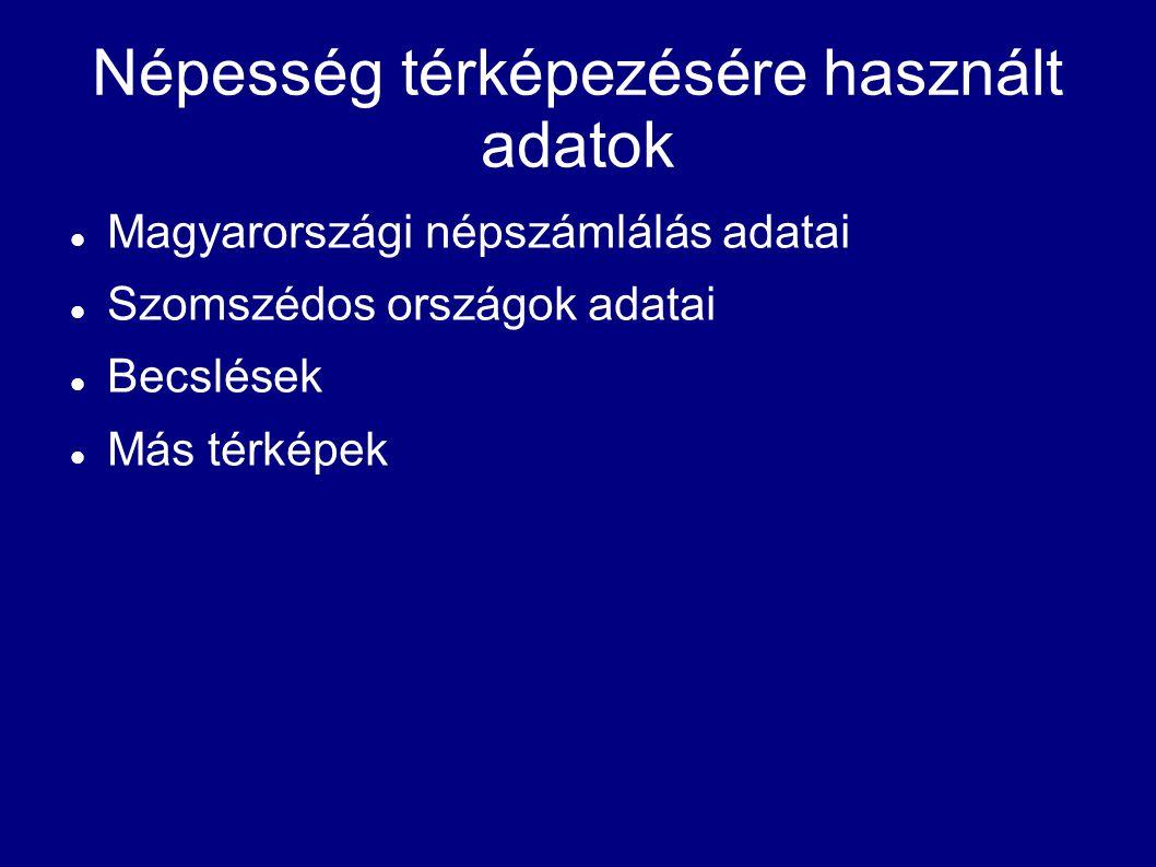 Népesség térképezésére használt adatok Magyarországi népszámlálás adatai Szomszédos országok adatai Becslések Más térképek