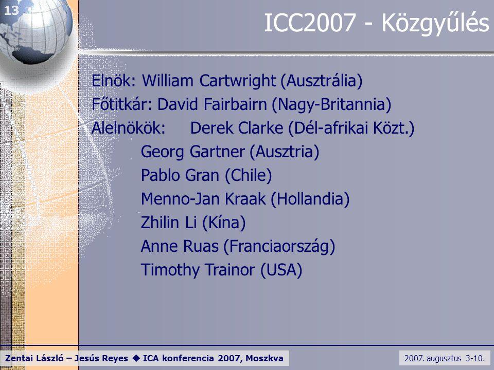 2007. augusztus 3-10. Zentai László – Jesús Reyes  ICA konferencia 2007, Moszkva 13 ICC2007 - Közgyűlés Elnök: William Cartwright (Ausztrália) Főtitk