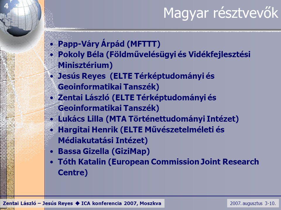 2007. augusztus 3-10. Zentai László – Jesús Reyes  ICA konferencia 2007, Moszkva 4 Magyar résztvevők Papp-Váry Árpád (MFTTT) Pokoly Béla (Földművelés