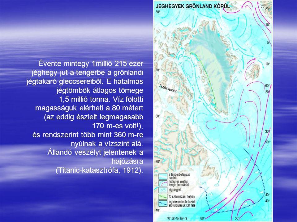 Évente mintegy 1millió 215 ezer jéghegy jut a tengerbe a grönlandi jégtakaró gleccsereiből. E hatalmas jégtömbök átlagos tömege 1,5 millió tonna. Víz