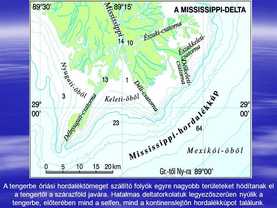 A tengerbe óriási hordaléktömeget szállító folyók egyre nagyobb területeket hódítanak el a tengertől a szárazföld javára. Hatalmas deltatorkolatuk leg