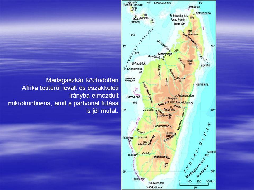Madagaszkár köztudottan Afrika testéről levált és északkeleti irányba elmozdult mikrokontinens, amit a partvonal futása is jól mutat.