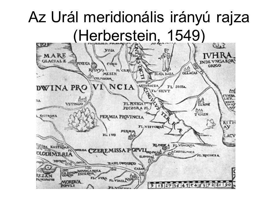 Az Urál meridionális irányú rajza (Herberstein, 1549)