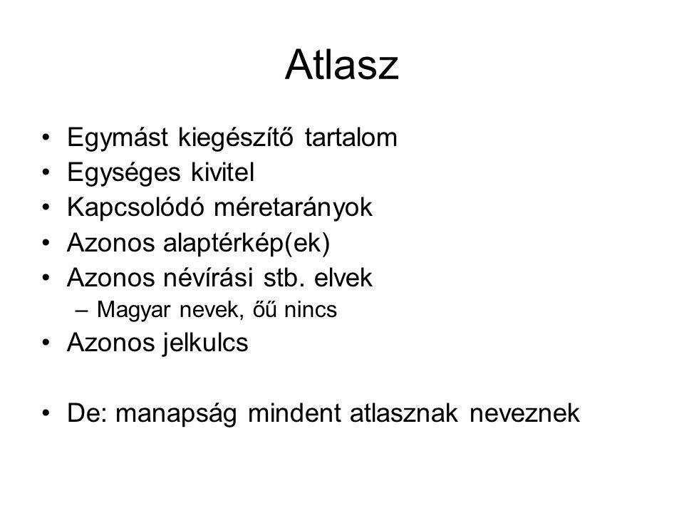 Atlasz Egymást kiegészítő tartalom Egységes kivitel Kapcsolódó méretarányok Azonos alaptérkép(ek) Azonos névírási stb.