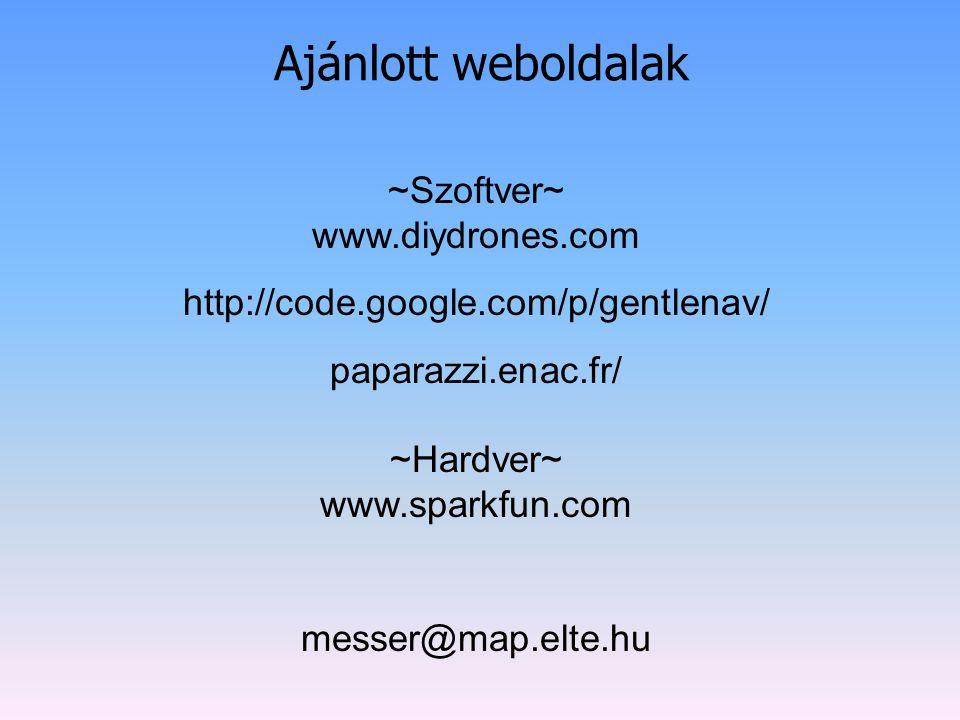 Ajánlott weboldalak ~Szoftver~ www.diydrones.com http://code.google.com/p/gentlenav/ paparazzi.enac.fr/ ~Hardver~ www.sparkfun.com messer@map.elte.hu