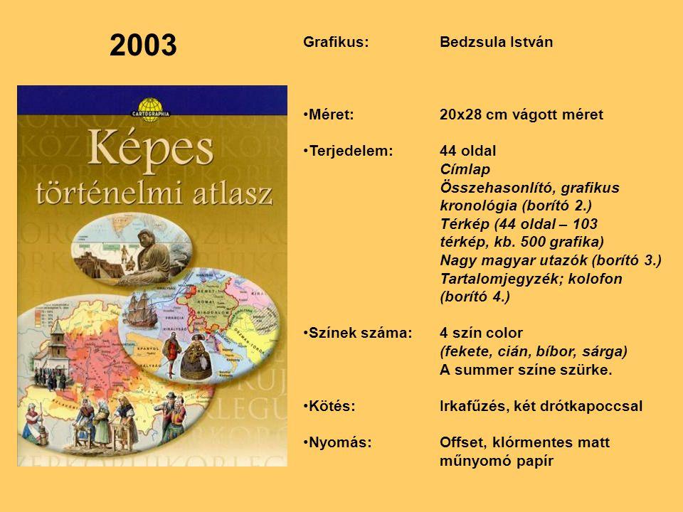 2003 Grafikus:Bedzsula István Méret:20x28 cm vágott méret Terjedelem:44 oldal Címlap Összehasonlító, grafikus kronológia (borító 2.) Térkép (44 oldal