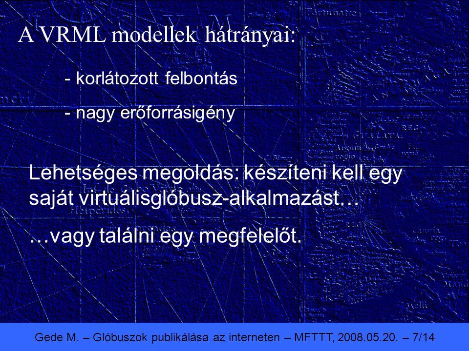Gede M. – Glóbuszok publikálása az interneten – MFTTT, 2008.05.20. – 7/14 A VRML modellek hátrányai: - korlátozott felbontás - nagy erőforrásigény Leh
