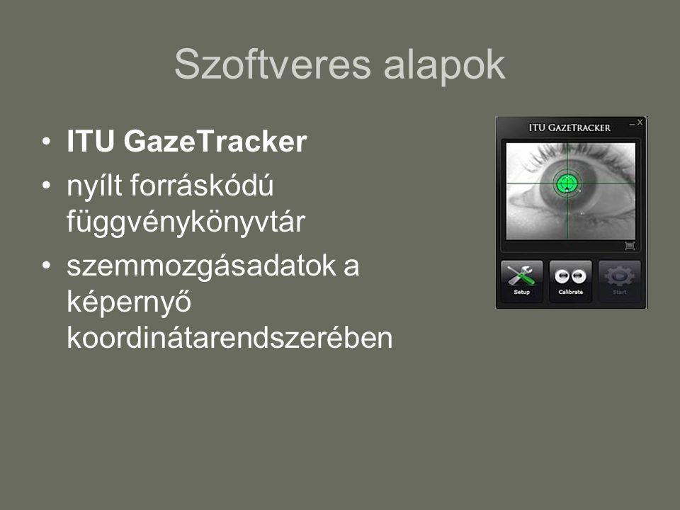 Szoftveres alapok ITU GazeTracker nyílt forráskódú függvénykönyvtár szemmozgásadatok a képernyő koordinátarendszerében