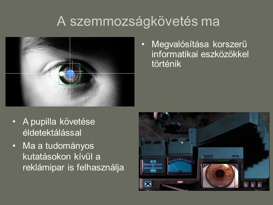 A szemmozságkövetés ma Megvalósítása korszerű informatikai eszközökkel történik A pupilla követése éldetektálással Ma a tudományos kutatásokon kívül a reklámipar is felhasználja