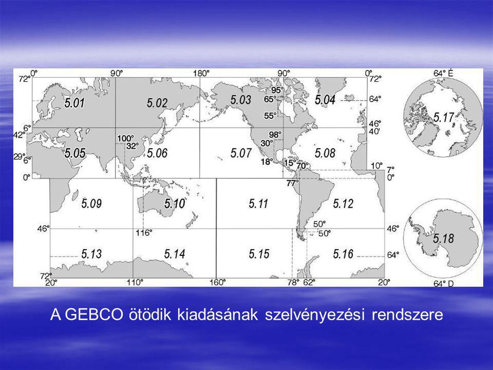 A GEBCO ötödik kiadásának szelvényezési rendszere