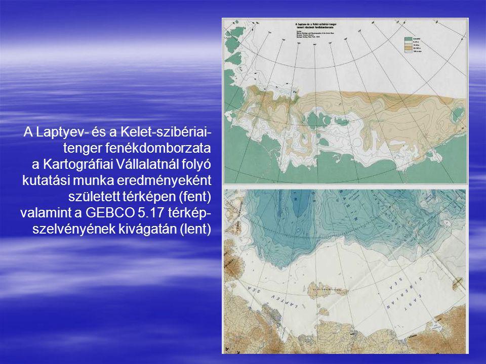 A Laptyev- és a Kelet-szibériai- tenger fenékdomborzata a Kartográfiai Vállalatnál folyó kutatási munka eredményeként született térképen (fent) valami