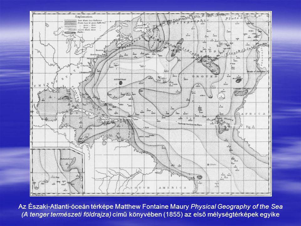 Az Északi-Atlanti-óceán térképe Matthew Fontaine Maury Physical Geography of the Sea (A tenger természeti földrajza) című könyvében (1855) az első mél