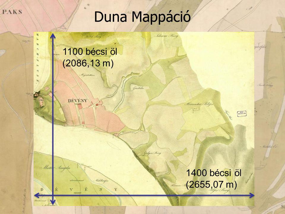 1100 bécsi öl (2086,13 m) 1400 bécsi öl (2655,07 m) Duna Mappáció