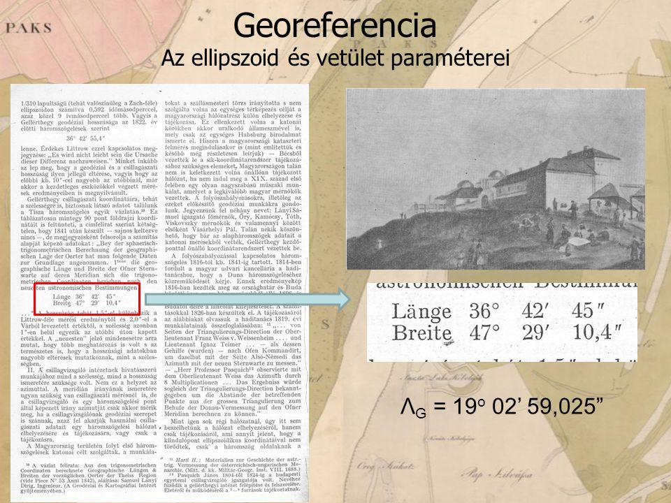 Georeferencia Az ellipszoid és vetület paraméterei Λ G = 19 o 02' 59,025