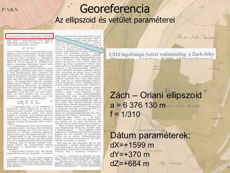 Zách – Oriani ellipszoid a = 6 376 130 m f = 1/310 Dátum paraméterek: dX=+1599 m dY=+370 m dZ=+684 m Georeferencia Az ellipszoid és vetület paraméterei