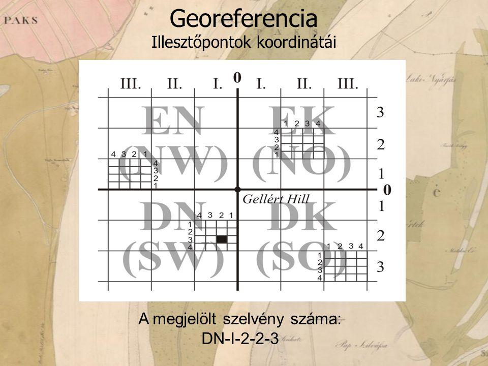 Georeferencia Illesztőpontok koordinátái A megjelölt szelvény száma: DN-I-2-2-3