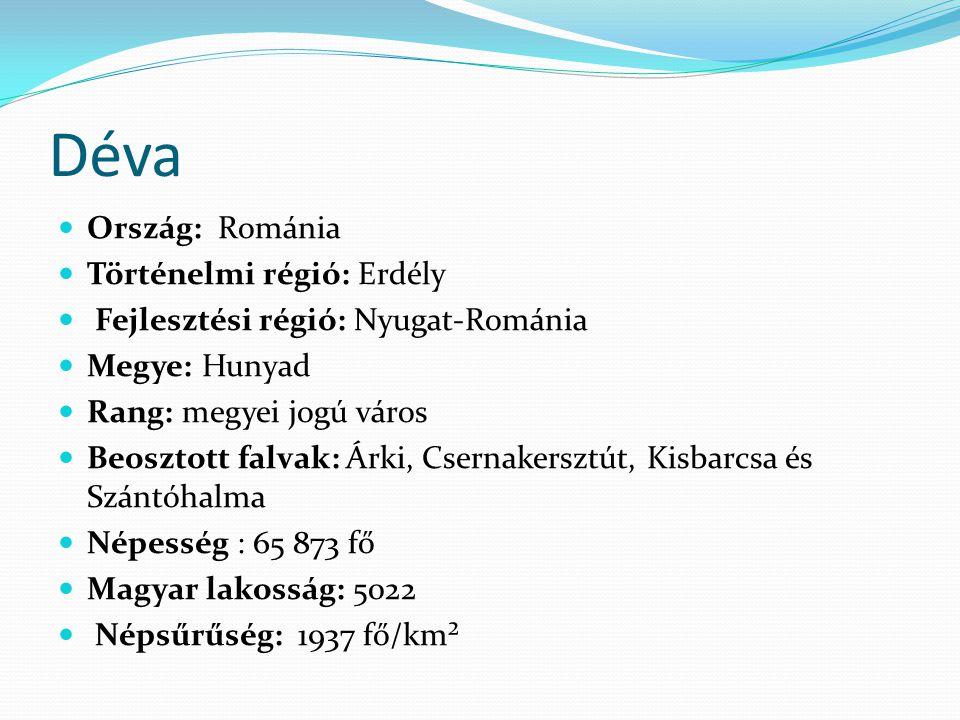 Déva Ország: Románia Történelmi régió: Erdély Fejlesztési régió: Nyugat-Románia Megye: Hunyad Rang: megyei jogú város Beosztott falvak: Árki, Csernake