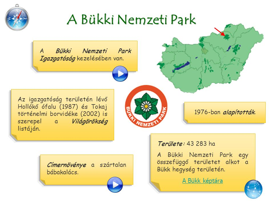 A Bükki Nemzeti Park A Bükki Nemzeti Park Igazgatóság kezelésében van. Címernövénye a szártalan bábakalács. 1976-ban alapították. Az igazgatóság terül