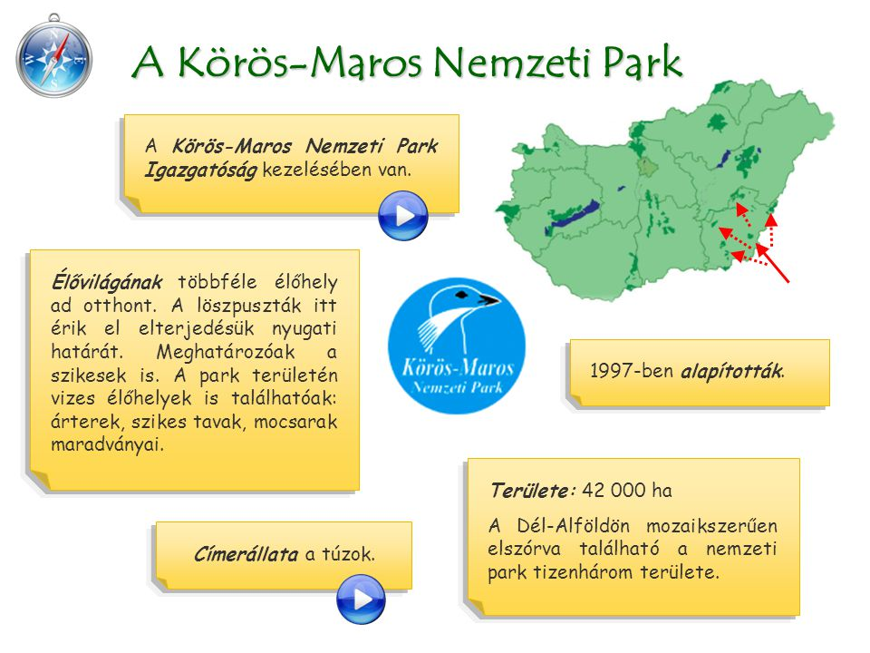 Területe: 42 000 ha A Dél-Alföldön mozaikszerűen elszórva található a nemzeti park tizenhárom területe. A Körös-Maros Nemzeti Park Igazgatóság kezelés