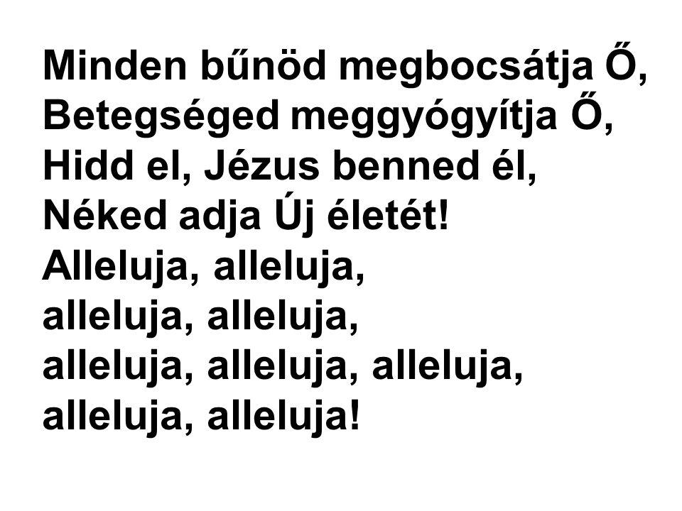 Minden bűnöd megbocsátja Ő, Betegséged meggyógyítja Ő, Hidd el, Jézus benned él, Néked adja Új életét! Alleluja, alleluja, alleluja, alleluja, alleluj
