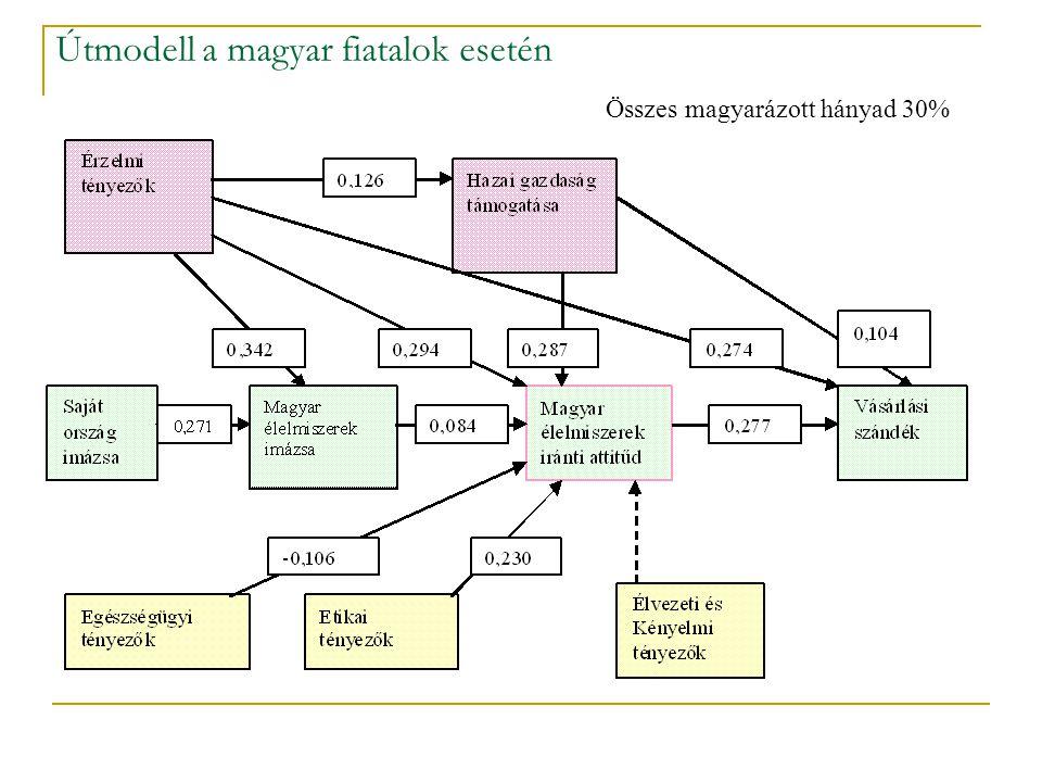 Útmodell a magyar fiatalok esetén Összes magyarázott hányad 30%