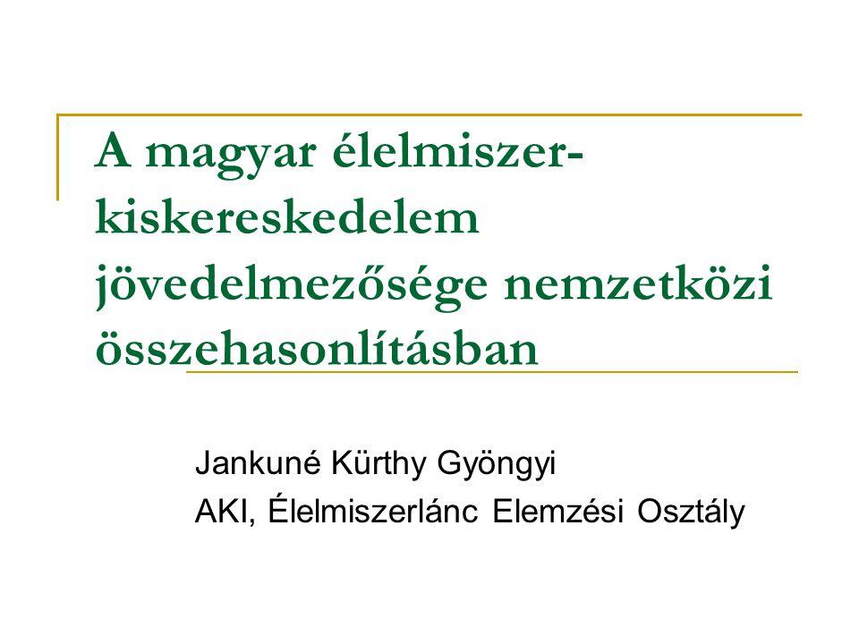 A magyar élelmiszer- kiskereskedelem jövedelmezősége nemzetközi összehasonlításban Jankuné Kürthy Gyöngyi AKI, Élelmiszerlánc Elemzési Osztály