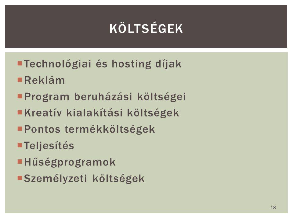  Technológiai és hosting díjak  Reklám  Program beruházási költségei  Kreatív kialakítási költségek  Pontos termékköltségek  Teljesítés  Hűségprogramok  Személyzeti költségek KÖLTSÉGEK 18