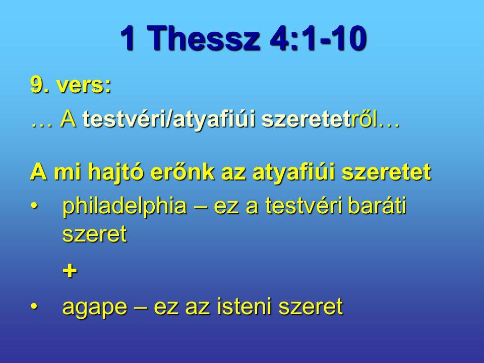 1 Thessz 4:1-10 9. vers: … A testvéri/atyafiúi szeretetről… A mi hajtó erőnk az atyafiúi szeretet philadelphia – ez a testvéri baráti szeretphiladelph