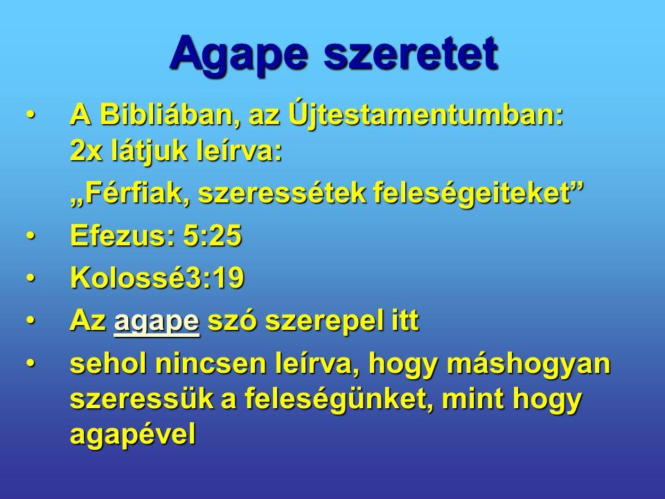 """Agape szeretet A Bibliában, az Újtestamentumban: 2x látjuk leírva:A Bibliában, az Újtestamentumban: 2x látjuk leírva: """"Férfiak, szeressétek feleségeit"""