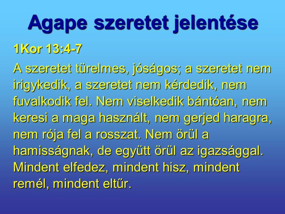 Agape szeretet jelentése 1Kor 13:4-7 A szeretet türelmes, jóságos; a szeretet nem irigykedik, a szeretet nem kérdedik, nem fuvalkodik fel. Nem viselke