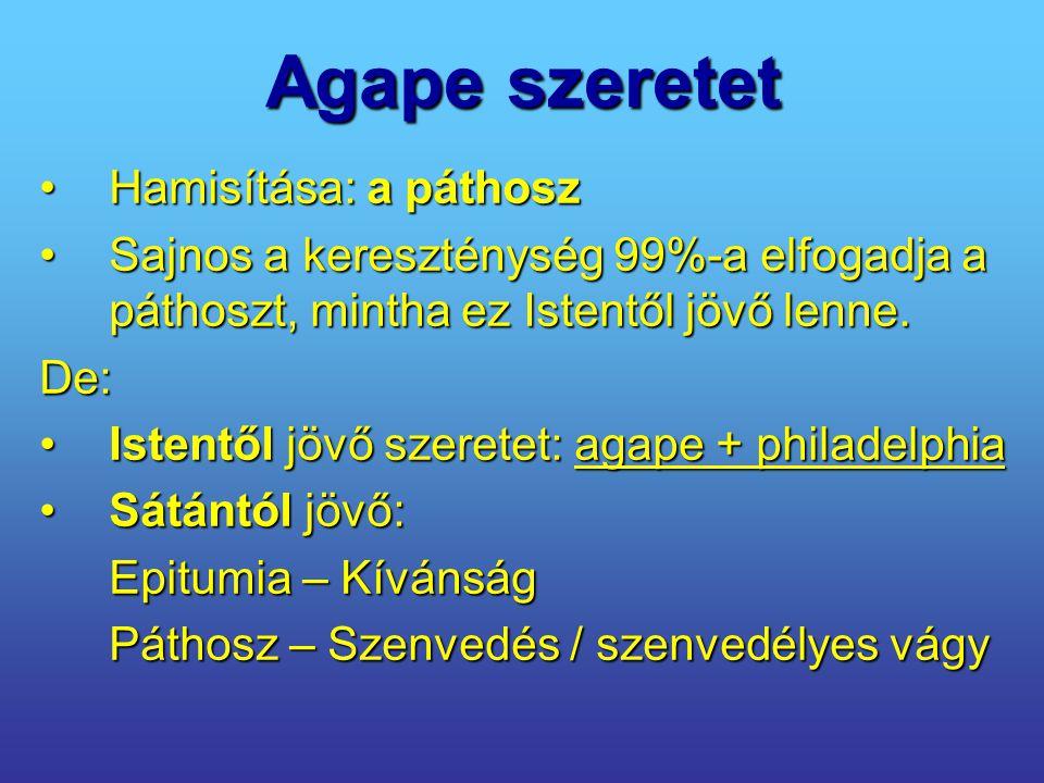 Agape szeretet Hamisítása: a páthoszHamisítása: a páthosz Sajnos a kereszténység 99%-a elfogadja a páthoszt, mintha ez Istentől jövő lenne.Sajnos a ke
