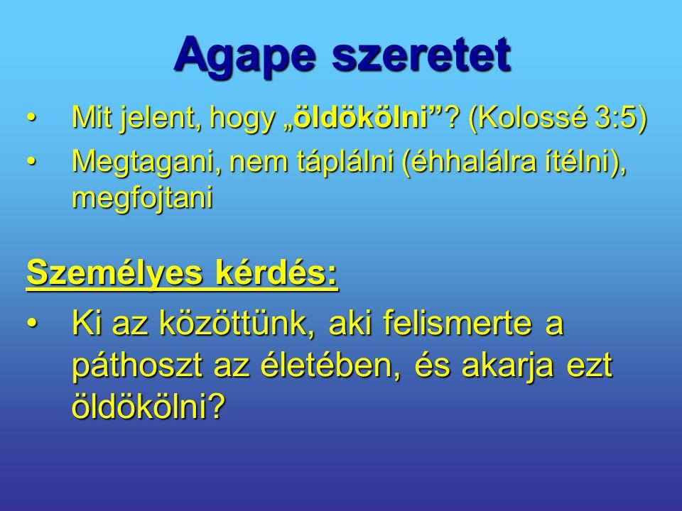 """Agape szeretet Mit jelent, hogy """"öldökölni""""? (Kolossé 3:5)Mit jelent, hogy """"öldökölni""""? (Kolossé 3:5) Megtagani, nem táplálni (éhhalálra ítélni), megf"""