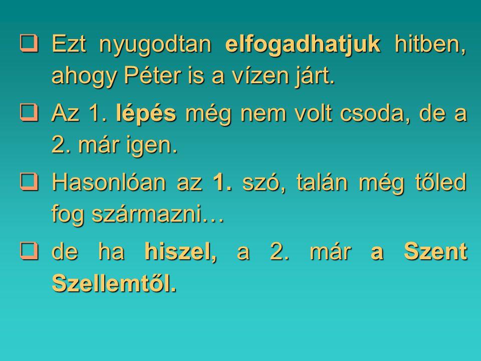  Ezt nyugodtan elfogadhatjuk hitben, ahogy Péter is a vízen járt.  Az 1. lépés még nem volt csoda, de a 2. már igen.  Hasonlóan az 1. szó, talán mé