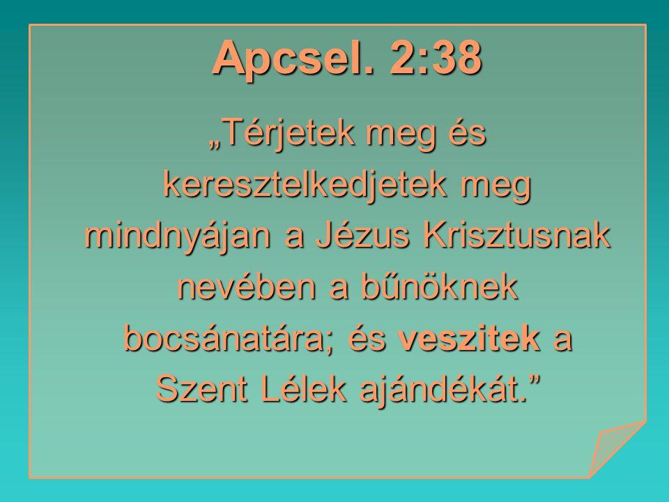 """Apcsel. 2:38 """"Térjetek meg és keresztelkedjetek meg mindnyájan a Jézus Krisztusnak nevében a bűnöknek bocsánatára; és veszitek a Szent Lélek ajándékát"""