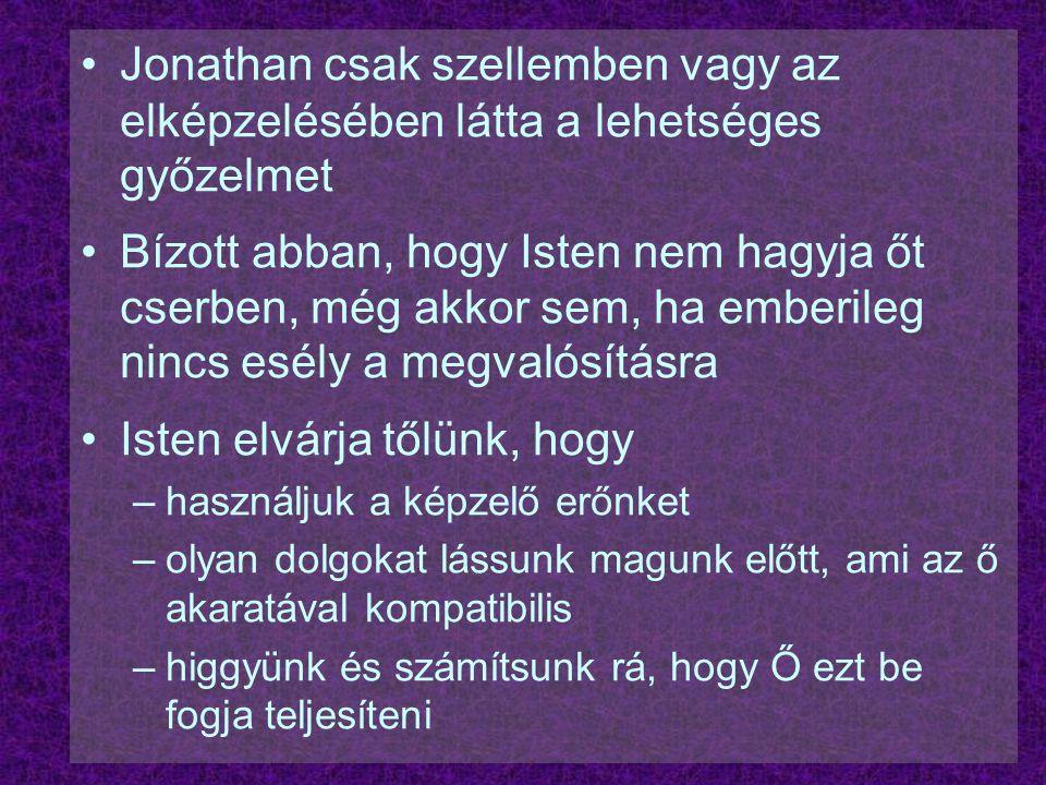 Jonathan csak szellemben vagy az elképzelésében látta a lehetséges győzelmet Bízott abban, hogy Isten nem hagyja őt cserben, még akkor sem, ha emberil