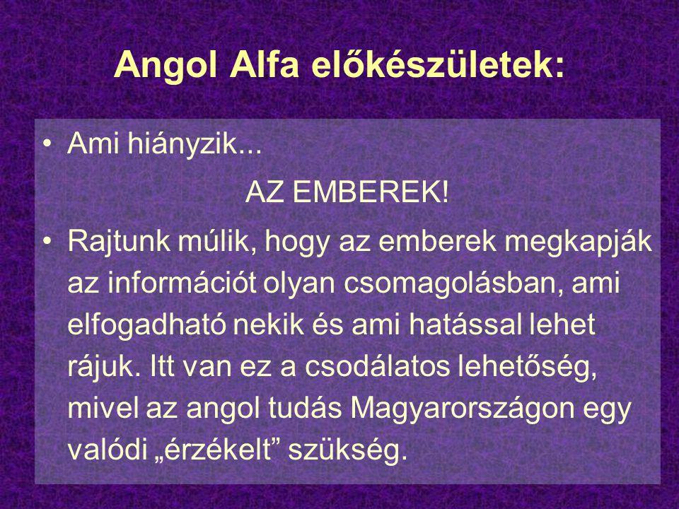 Angol Alfa előkészületek: Ami hiányzik... AZ EMBEREK! Rajtunk múlik, hogy az emberek megkapják az információt olyan csomagolásban, ami elfogadható nek