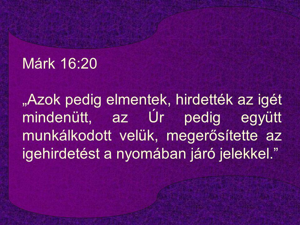 """Márk 16:20 """"Azok pedig elmentek, hirdették az igét mindenütt, az Úr pedig együtt munkálkodott velük, megerősítette az igehirdetést a nyomában járó jel"""