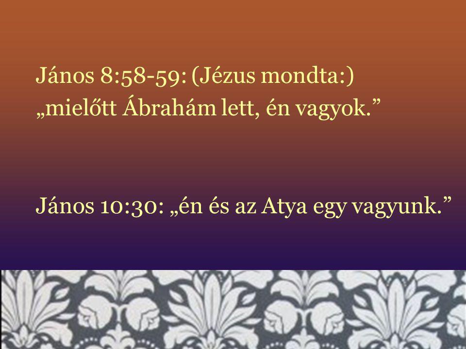"""János 8:58-59:(Jézus mondta:) """"mielőtt Ábrahám lett, én vagyok."""" János 10:30: """"én és az Atya egy vagyunk."""""""