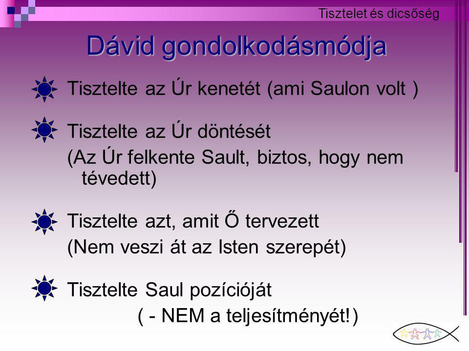 Tisztelet és dicsőség Dávid gondolkodásmódja Tisztelte az Úr kenetét (ami Saulon volt ) Tisztelte az Úr döntését (Az Úr felkente Sault, biztos, hogy nem tévedett) Tisztelte azt, amit Ő tervezett (Nem veszi át az Isten szerepét) Tisztelte Saul pozícióját ( - NEM a teljesítményét!)