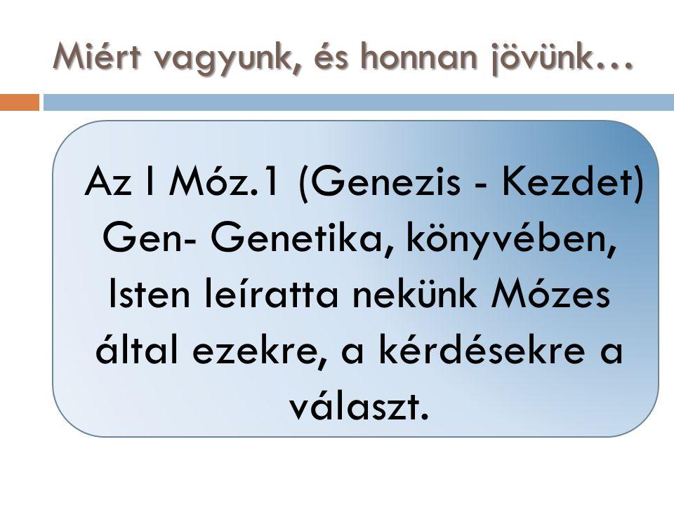 Az I Móz.1 (Genezis - Kezdet) Gen- Genetika, könyvében, Isten leíratta nekünk Mózes által ezekre, a kérdésekre a választ. Miért vagyunk, és honnan jöv