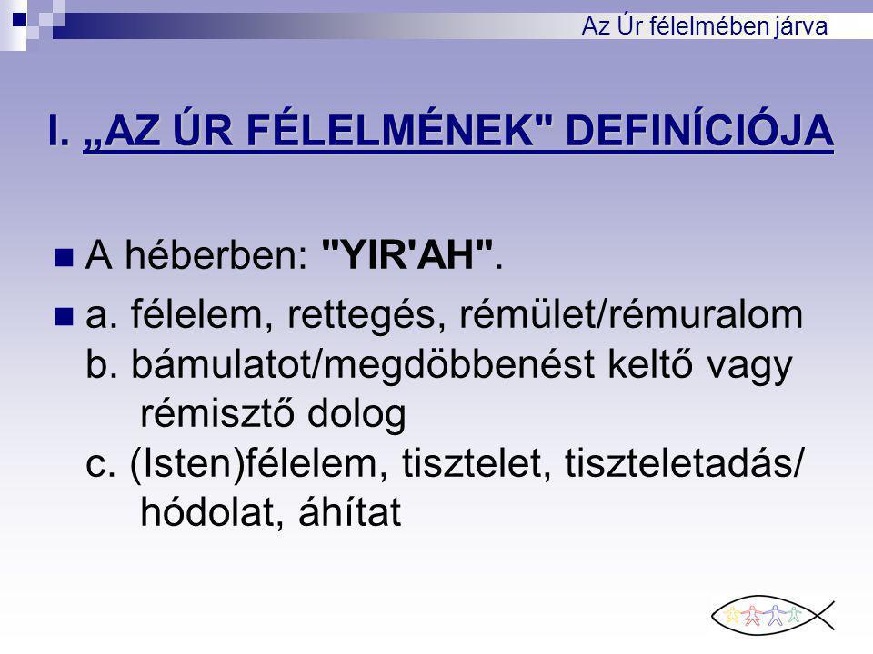 """Az Úr félelmében járva I. """"AZ ÚR FÉLELMÉNEK DEFINÍCIÓJA A héberben: YIR AH ."""