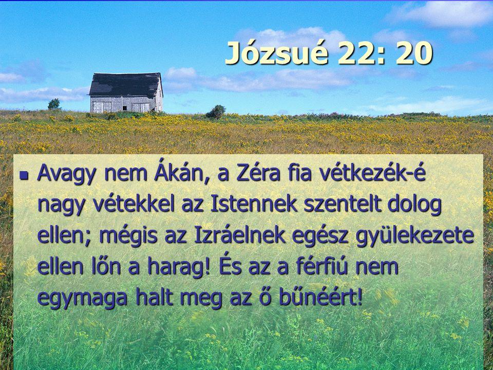 Erő és szeretet Józsué 22: 20 Avagy nem Ákán, a Zéra fia vétkezék-é nagy vétekkel az Istennek szentelt dolog ellen; mégis az Izráelnek egész gyülekeze