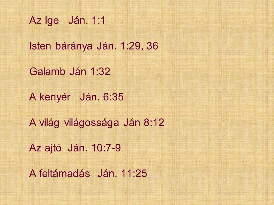 Az Ige Ján. 1:1 Isten báránya Ján. 1:29, 36 Galamb Ján 1:32 A kenyér Ján. 6:35 A világ világossága Ján 8:12 Az ajtó Ján. 10:7-9 A feltámadás Ján. 11:2