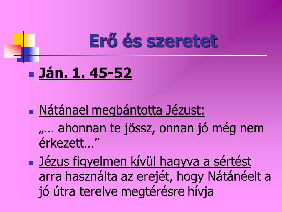 """Erő és szeretet Ján. 1. 45-52 Nátánael megbántotta Jézust: """"… ahonnan te jössz, onnan jó még nem érkezett…"""" Jézus figyelmen kívül hagyva a sértést arr"""