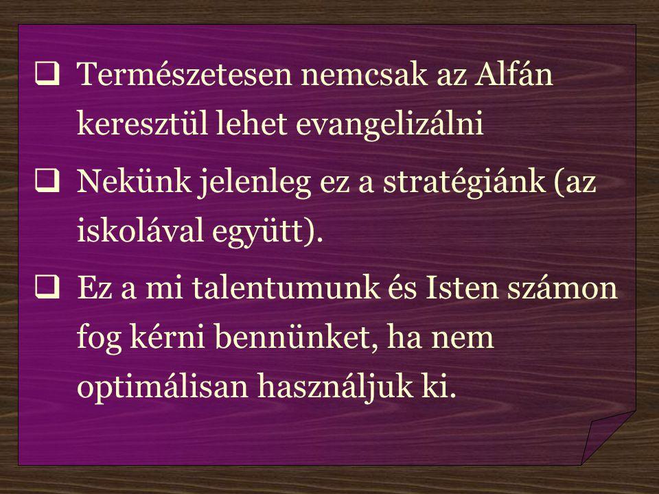 Természetesen nemcsak az Alfán keresztül lehet evangelizálni  Nekünk jelenleg ez a stratégiánk (az iskolával együtt).