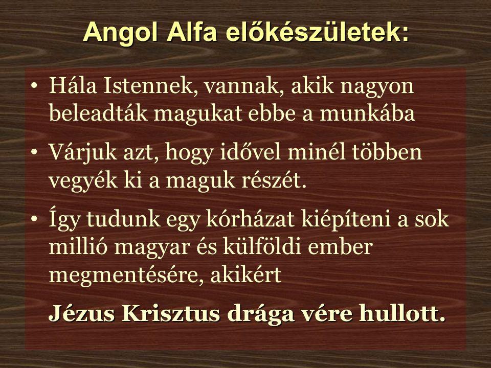 Angol Alfa előkészületek: Hála Istennek, vannak, akik nagyon beleadták magukat ebbe a munkába Várjuk azt, hogy idővel minél többen vegyék ki a maguk részét.