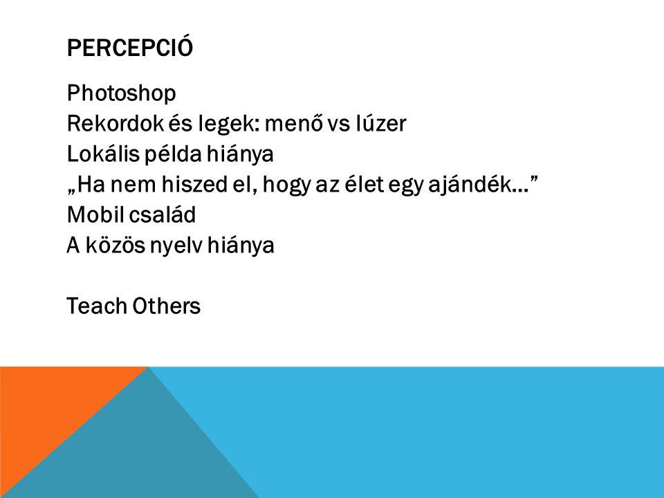 """PERCEPCIÓ Photoshop Rekordok és legek: menő vs lúzer Lokális példa hiánya """"Ha nem hiszed el, hogy az élet egy ajándék…"""" Mobil család A közös nyelv hiá"""