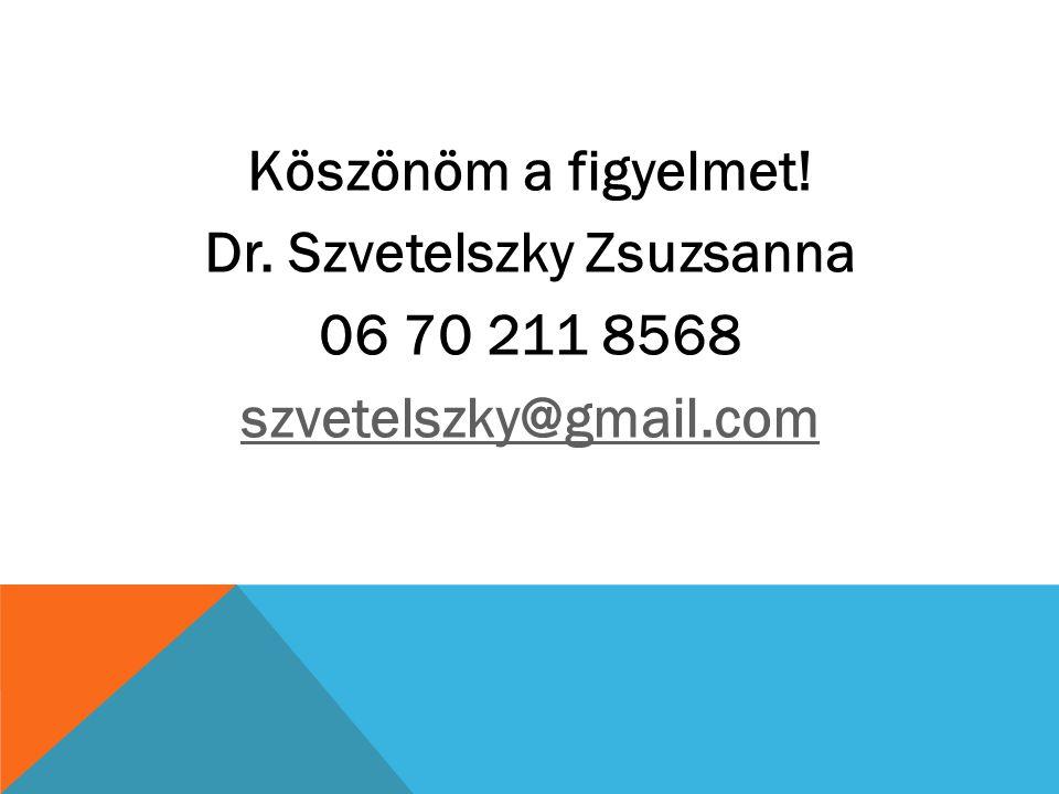 Köszönöm a figyelmet! Dr. Szvetelszky Zsuzsanna 06 70 211 8568 szvetelszky@gmail.com