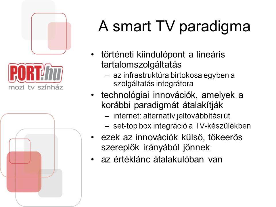 A smart TV paradigma történeti kiindulópont a lineáris tartalomszolgáltatás –az infrastruktúra birtokosa egyben a szolgáltatás integrátora technológiai innovációk, amelyek a korábbi paradigmát átalakítják –internet: alternatív jeltovábbítási út –set-top box integráció a TV-készülékben ezek az innovációk külső, tőkeerős szereplők irányából jönnek az értéklánc átalakulóban van